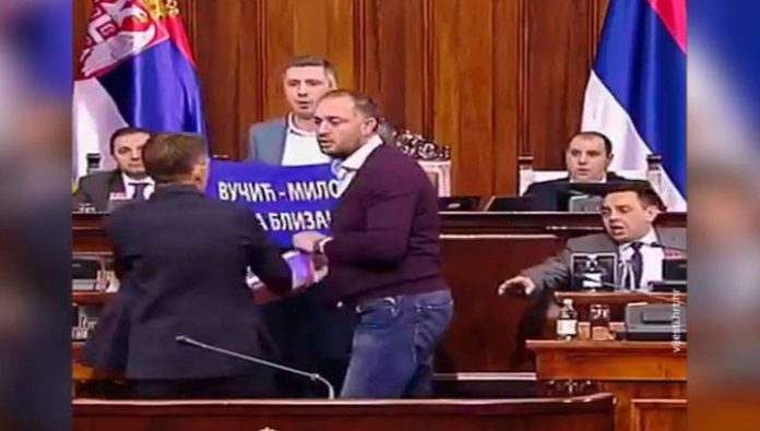 In Serbia, the MPs staged a fight in Parliament because of the events in Montenegro