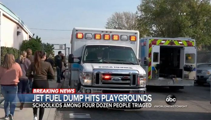 60 people were injured as a result of fuel dumping on schools near Los Angeles