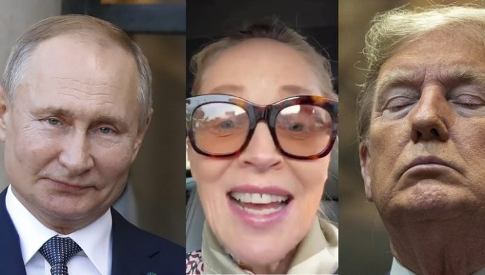 Actress Sharon stone has compared Putin and trump
