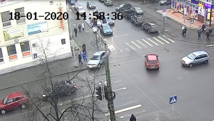 In Karelia, the car hit people, taking off on the sidewalk after the accident. Video