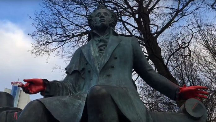 In Minsk, vandals poured red paint on the monument to Pushkin