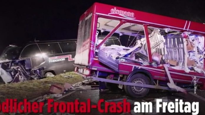 In South-West Germany collided with a truck and a tourist bus