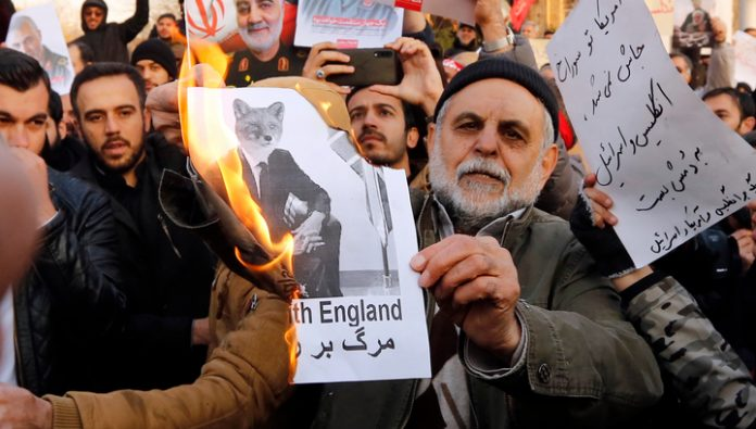 In Tehran, the protesters demanded to expel the British Ambassador from the country