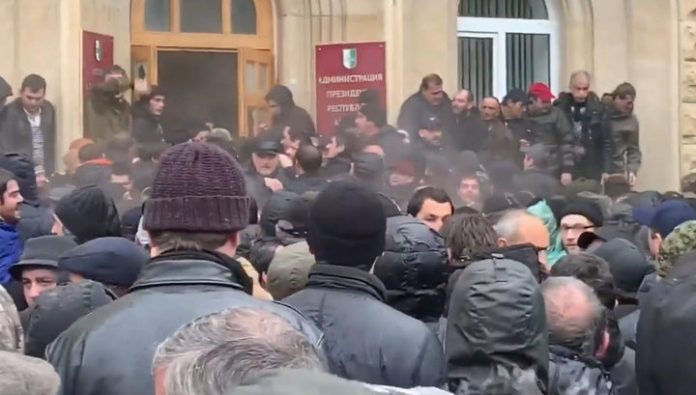Protesters seized the building of the presidential administration of Abkhazia