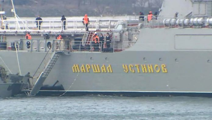 Putin watched the exercises of the two navies aboard the missile cruiser