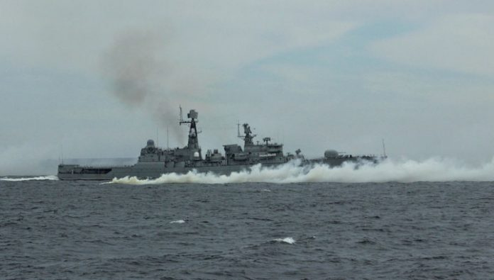 Russian patrol boat and a Japanese destroyer conducted exercises in the Arabian sea