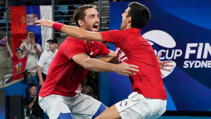 Tennis players of Serbia won the ATP finals Cup team Spain