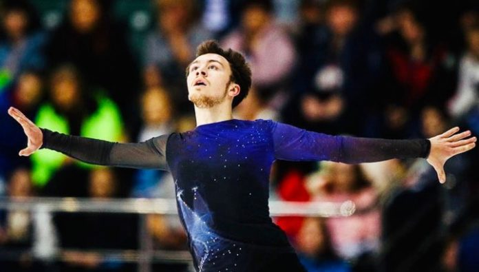 The Championship Of Europe. Russian figure skater Aliyev is second after the short program
