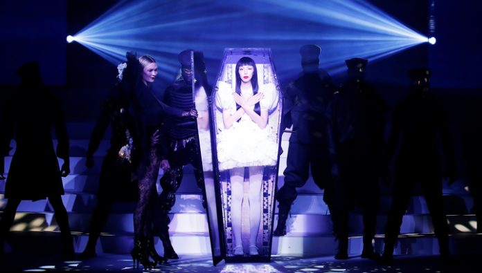 The last fashion show of Jean Paul Gaultier began with a flamboyant funeral
