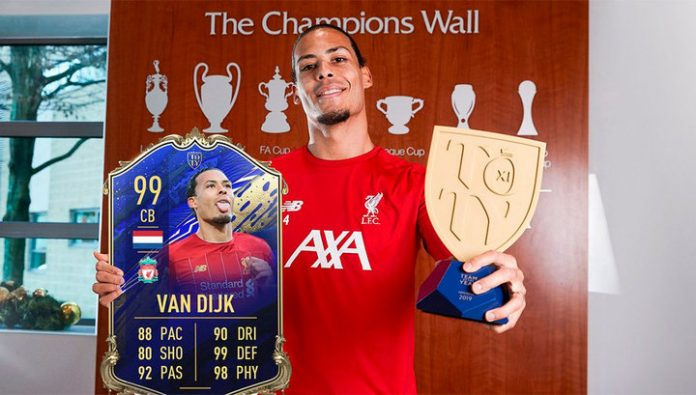 The Liverpool defender van Dijk has set a new record rating in FIFA