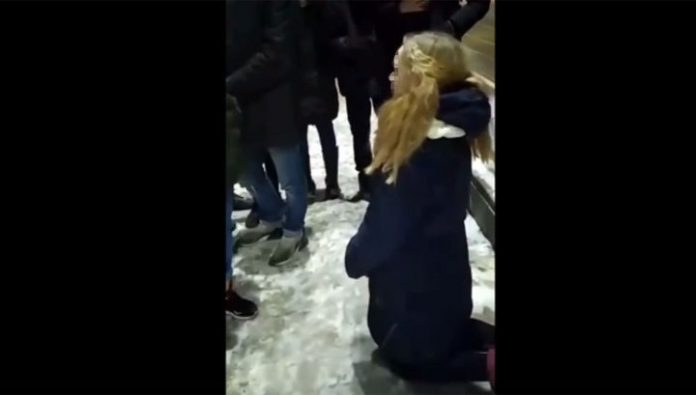 The schoolgirl was forced to kneel and ask for forgiveness for what she stole someone's boyfriend