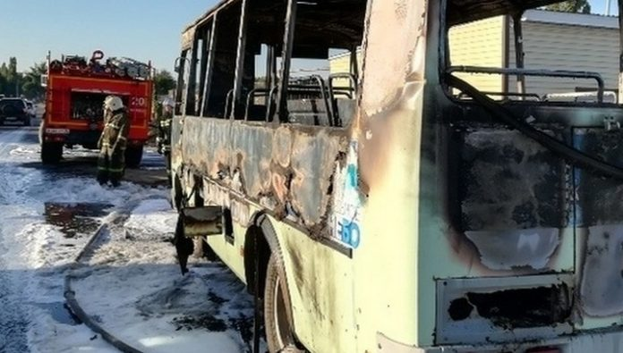 The second day of the bus caught on fire in Voronezh