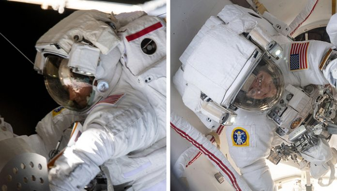 Two female astronaut returned to the ISS after work in space