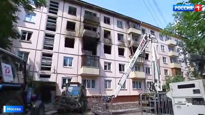 A few apartments burned in Moscow because of negligence in the treatment of gas