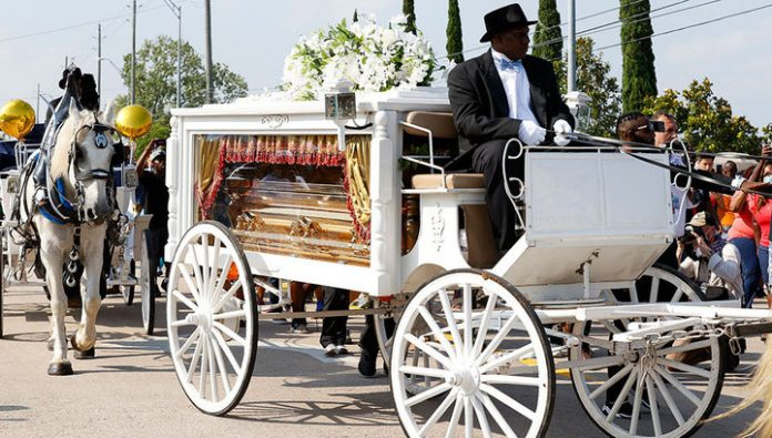 African American George Floyd is buried in the cemetery in the suburbs of Houston