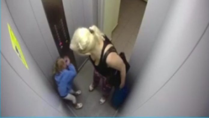 Arrested the grandmother, who beat his granddaughter in the Elevator