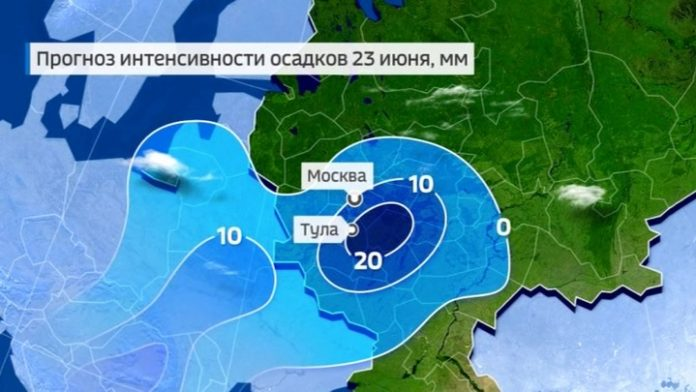 Central Russia is going to fall tropical storms