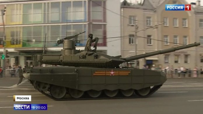 Tanks, on the way out: Red square ready for the rehearsal of the Victory Parade