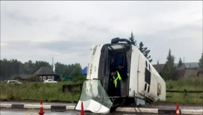 A passenger bus turned over near Krasnoyarsk